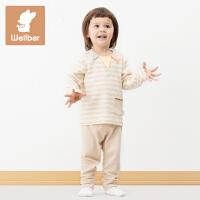 威尔贝鲁 纯棉儿童睡衣冬 宝宝家居服套装动物款 男女童1-3-5周岁