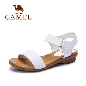 camel骆驼女鞋 夏季新款 时尚休闲  方跟魔术贴低跟凉鞋