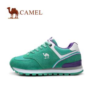 camel骆驼女鞋 反绒皮拼接网布绑带运动风休闲鞋  女士运动鞋