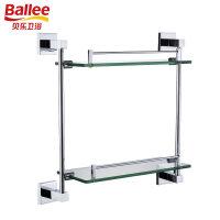 【货到付款】贝乐BALLEE G6218全铜浴室双层玻璃置物架化妆品台五金挂件