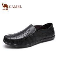 camel骆驼男鞋 日常休闲牛皮套脚打孔透气休闲皮鞋男 爸爸鞋