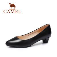 camel骆驼女鞋 休闲通勤 油蜡羊皮圆头中跟OL单鞋 2016新款单鞋