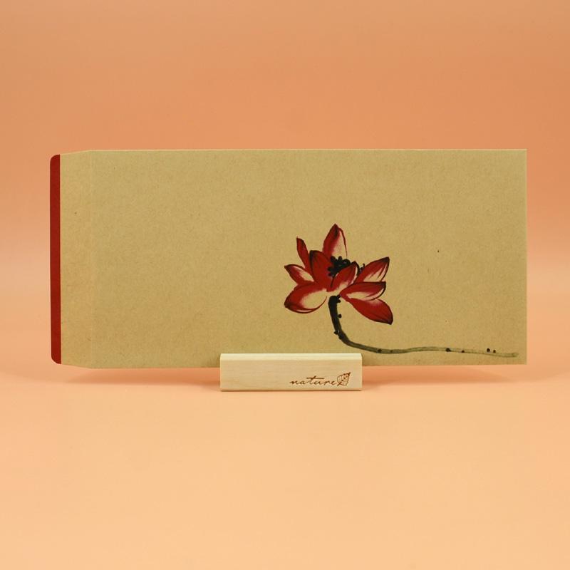[墨然]中国风传统信封 复古中式长款牛皮纸5号信封 红格古风_对荷b-牛