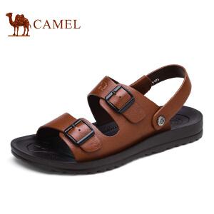 camel骆驼男鞋夏季 头层牛皮休闲凉鞋男 沙滩鞋男士透气凉拖鞋