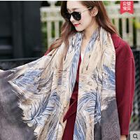 百变丝巾 新款学生韩版 长款双色棉麻披肩围巾两用