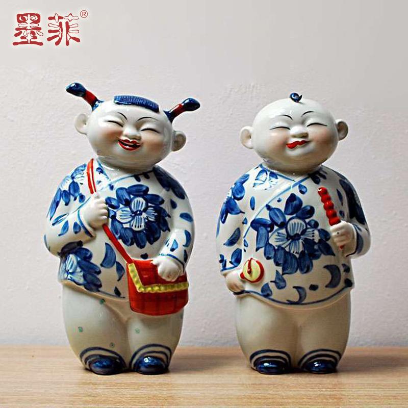 青花瓷雕塑瓷娃娃摆件 中式陶瓷家居工艺品创意人物软装饰品摆设