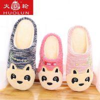 儿童亲子卡通熊猫冬季保暖棉拖鞋男女室内家居家厚底拖鞋