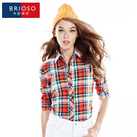 BRIOSO 2017春装新款女式磨毛长袖格子衬衫 韩版时尚修身出街百搭女士衬衣 大码女装 衬衣 WEMM006