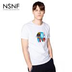NSNF纯棉刺绣动物系列大象白色短袖T恤 2017春夏新款