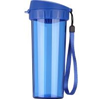 特百惠水杯500ml 茶韵随手杯便携塑料杯子运动水壶学生儿童杯茶杯蓝