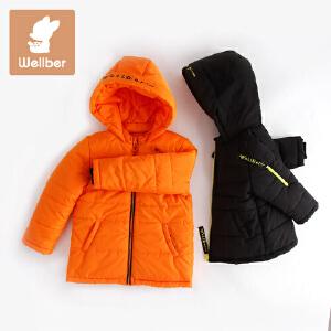 威尔贝鲁 彩棉婴儿棉服带帽宝宝棉袄 儿童棉衣秋冬双排扣保暖新款