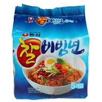 韩国方便面进口冷面凉拌面农心拉面糯米干拌面130g*5连包