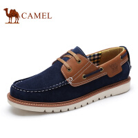 camel骆驼男鞋 牛皮帆船鞋男 日常休闲鞋 耐磨系带男鞋 新款