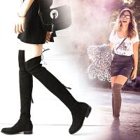 拉链系带平底长靴女过膝长筒靴粗跟高筒靴瘦腿弹力靴大码SW5050