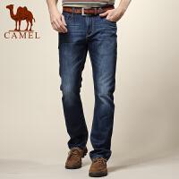 camel骆驼 男装 新款 商务休闲直筒牛仔裤 男士棉质长牛仔裤子