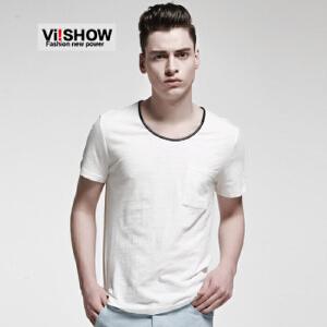 viishow新款男士短袖T恤 夏季纯棉修身多色缤纷打底衫t恤韩版半袖