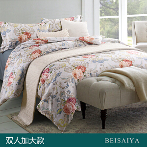 贝赛亚 高端60支贡缎长绒棉床品 双人加大印花床上用品四件套 韦恩