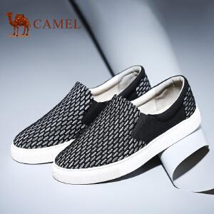 camel骆驼男鞋 新品 帆布鞋黑白编织网布时尚休闲板鞋