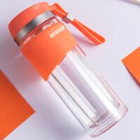 新款泰福高高硼硅炫彩双层茶隔玻璃杯 办公杯 车载杯玻璃水杯-橘色