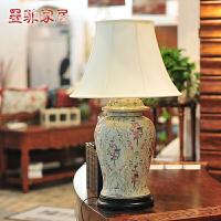 玛莎款 欧式台灯大气手绘陶瓷创意时尚卧室床头客厅装饰灯具