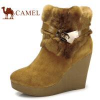 camel 骆驼女靴 牛皮保暖坡跟女中筒靴冬靴 超高跟 秋冬新款