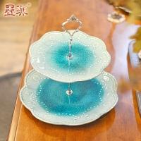 墨菲 欧式冰裂釉蓝色双层水果盘 创意现代客厅茶几婚庆简约陶瓷零食干果点心盘子 礼盒包装