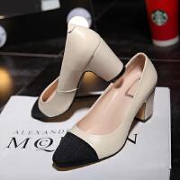 2016春新款欧美尖头单鞋女平底平跟粗跟浅口低跟色拼接工作鞋