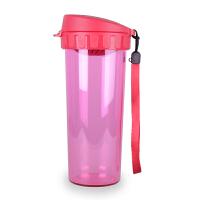 特百惠茶韵随心杯500ML塑料水杯学生便携防漏水杯 酷炫黑