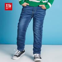 jjlkids季季乐童装男童牛仔裤冬款新品中大儿童厚款加绒透气长裤BDK61195