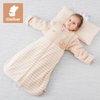 威尔贝鲁 可脱胆新生婴儿睡袋 秋冬宝宝纯棉睡袋 儿童防踢被薄款