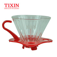 TIXIN/梯信 V01玻璃滤杯 手冲咖啡粉过滤杯家用滴漏式冲泡咖啡杯 T335224红色