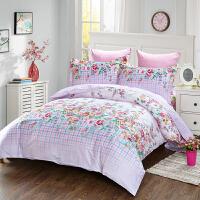 当当优品家纺 纯棉斜纹印花床品 双人床单四件套 粉调花颜