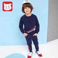专柜同款 小猪班纳童装男童纯棉运动套装2017春秋新款儿童上衣男中大童裤子