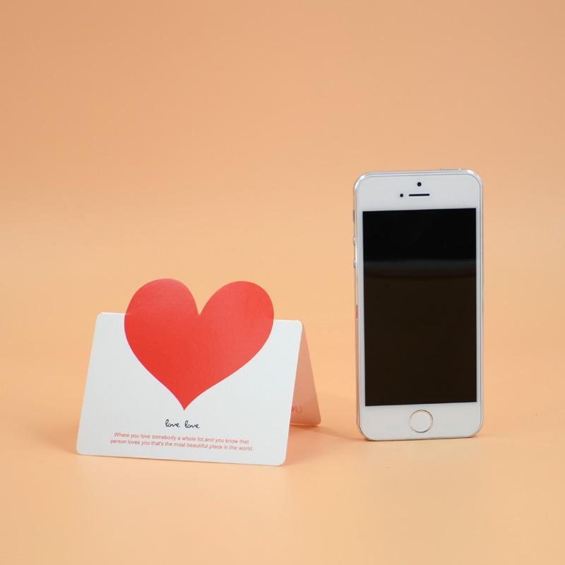 创意卡片 贺卡 婚礼祝福卡片 创意情人节 爱心礼物卡片_红心-白底