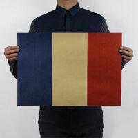 国旗C款 法国 怀旧复古 牛皮纸海报 装饰画芯51x35.5cm