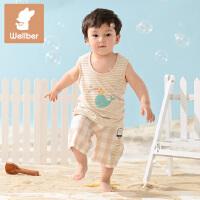 威尔贝鲁 竹纤维夏季卡通印花男女儿童背心 婴儿T恤 宝宝上衣 儿童夏装