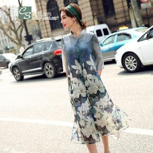 CITYSAILOR 2016年夏装新款潮 女士蚕桑丝   中国风印花短袖真丝连衣裙