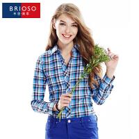 BRIOSO 春装新款女式磨毛长袖格子衬衫 韩版时尚修身出街百搭女士衬衣 大码女装 衬衣 WEMM007