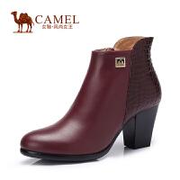 Camel/骆驼女鞋 时尚 修面牛皮石头纹羊皮圆头粗高跟女短靴