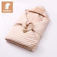 威尔贝鲁 婴儿抱被春秋 纯棉新生儿秋冬包被加厚 宝宝包巾襁褓