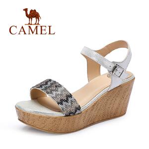 camel骆驼女鞋 夏季新款一字扣凉鞋 水钻高跟厚底凉鞋