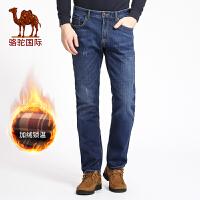 骆驼男装 秋冬季时尚猫须加绒加厚牛仔裤中腰长裤子男
