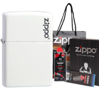 美国芝宝Zippo打火机 白色哑漆/logo标志 214ZL Zippo标志(大礼盒套装)