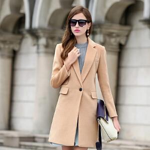 CITYSAILOR 2016夏季新品毛呢外套新款欧美女装中长款呢子大衣修身羊毛呢大衣