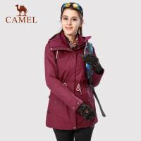 camel骆驼女装户外冲锋衣 双面抓绒内胆防风防水工作外套
