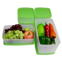 特百惠   果菜鲜冷藏保鲜盒大中小6件套   冰箱食品密封盒