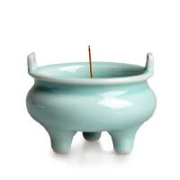 陶瓷故事 龙泉窑青瓷仿古釉三足双耳香炉 盘香线 香炉 香道用品