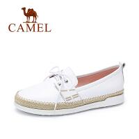 camel骆驼女鞋 清新时尚休闲 春季新款牛皮系带低跟单鞋