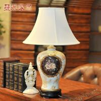 黛蜜款 欧式台灯简约创意彩绘陶瓷客厅书房卧室床头装饰灯具
