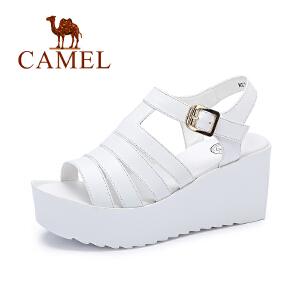 Camel/骆驼女鞋 时尚休闲 头层纳帕牛皮搭扣高跟厚底凉鞋新品